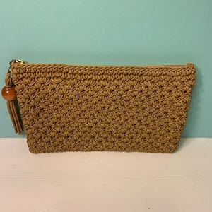 Taupe Woven Clutch Bag